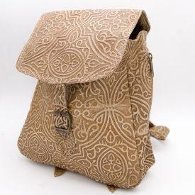 leather goods backpack embossed leather Moorish designs