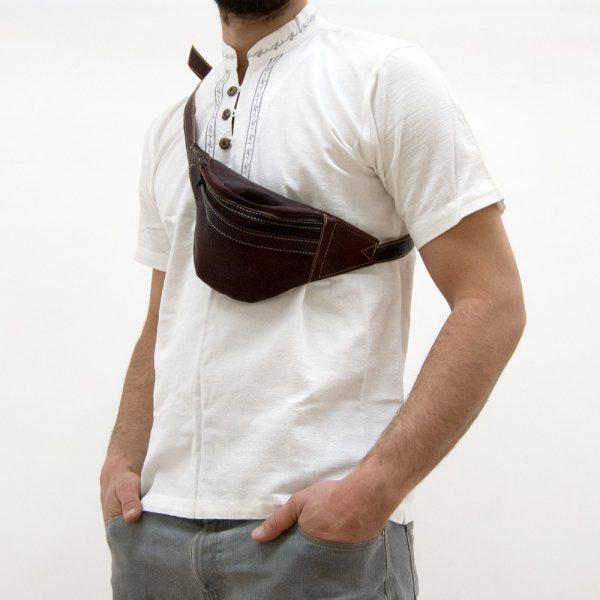 Leather handicraft leather belt bag