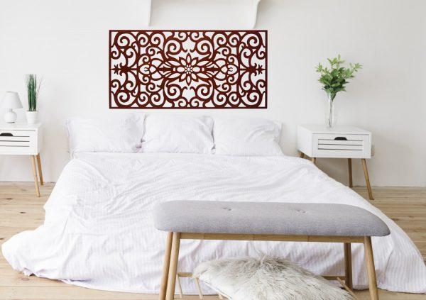 Baroque Floral Headboard - 160 x 80 cm - Wood Lattice