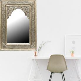 Arabic Decoration Mirror - 100 x 65 cm - Carved Alpaca - Lotus Model