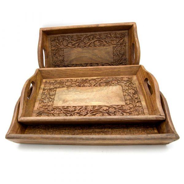 Set 3 Carved Wood Trays Floral Design - alsawani Model