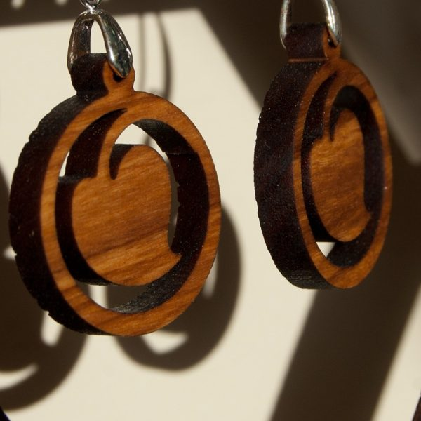 Olive Wood Earrings with Silver - Warka Design