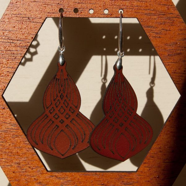 Leather Earrings - Misbah Model - Silver Setting