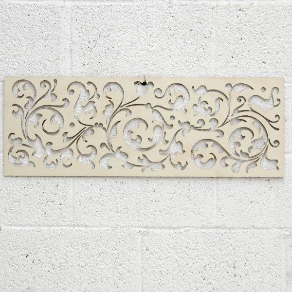 Wooden Lattice - Laser Cut - Celtic Design - Bone White - 80 x 30 cm