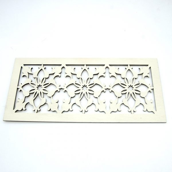 Wooden Celosia - Laser Cut - Medieval Design - Bone White - 30 x 15 cm
