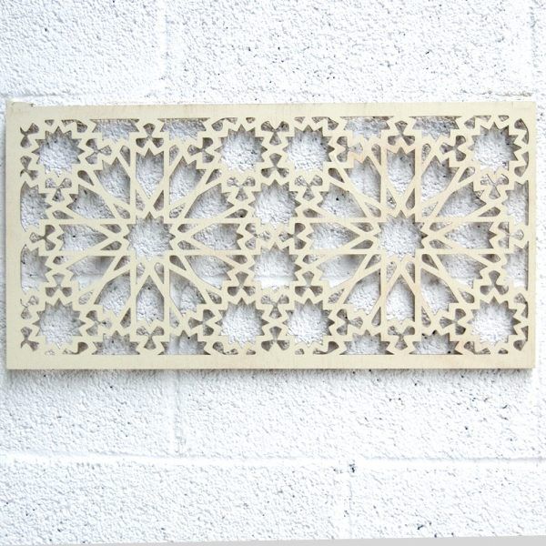 Wooden Lattice - Islamic Design - Bone White 60 x 30 cm