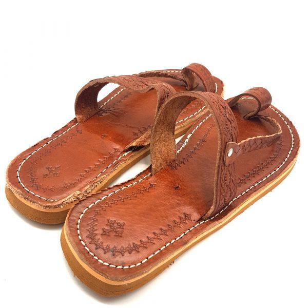 Light Brown Woman Sandal - 100% Leather - Albaniu Model