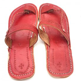 Light Red Woman Sandal - 100% Leather - Ahmari Model