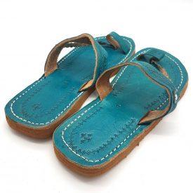 Turquoise Woman Sandal - 100% Leather - Samawi Model