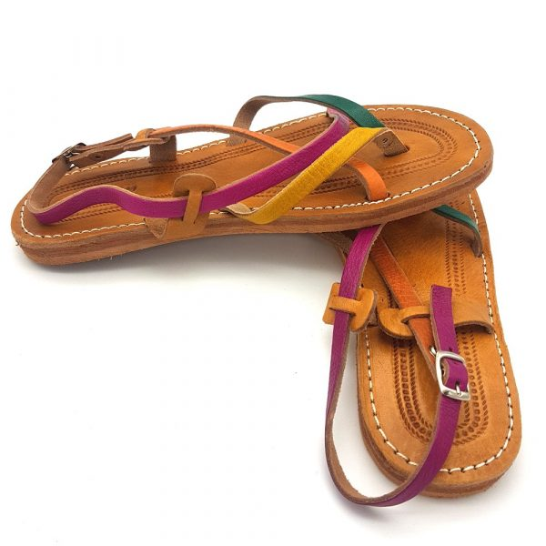 Sandal Woman - 100% Leather - Multicolor - Model Alwania