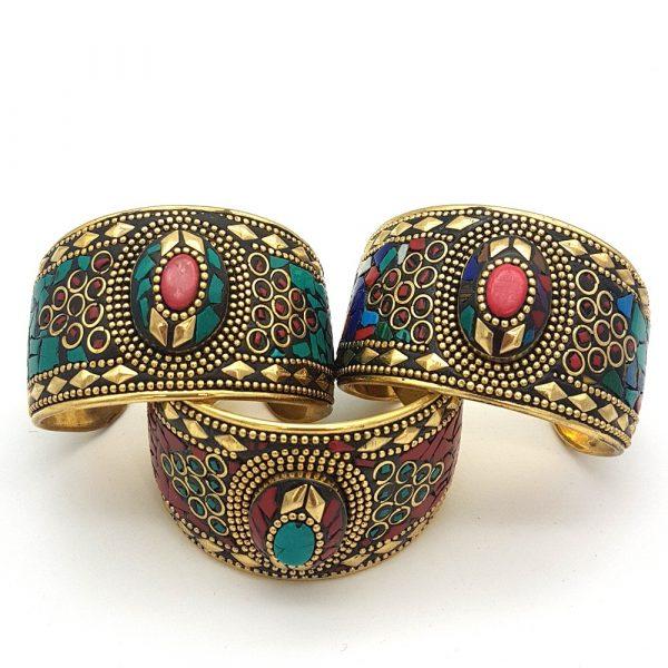 Golden Blazalete - Inlaid Stones - Ahyarat Model