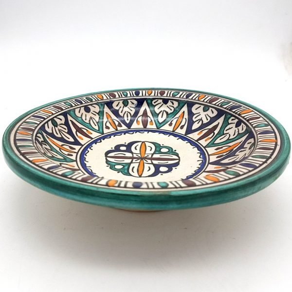 Arabic Deep Plate - Fez Ceramic - 25 cm - Hand Painted-Multicolor