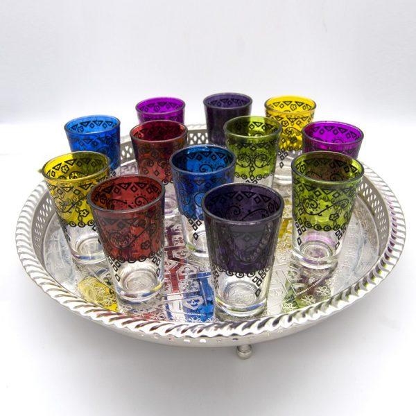Tea Set Pack - 12 Glasses + 1 l Teapot + Sugar Bowl + Tray + Morito + Gift Candle Holder