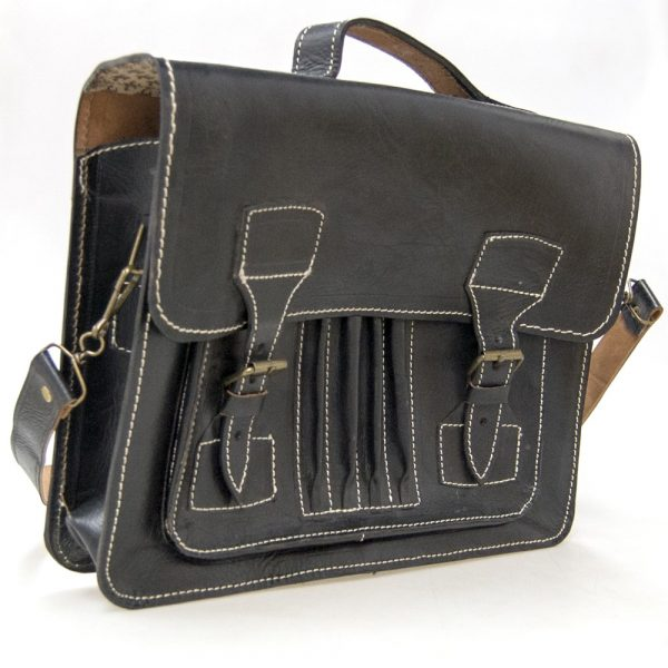 100% Natural Leather Briefcase - Leather Goods - Executive Model - Black Color