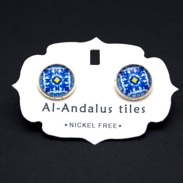 Button Earrings - Inspired by the Alhambra - Al-Andalus Tiles - Wahid Model