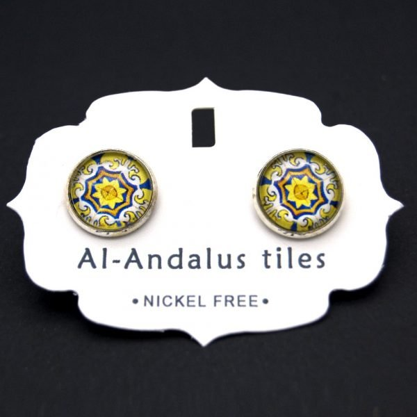 Short Button Earring - Inspired by the Alhambra - Al-Andalus Tiles - Zalaza Model