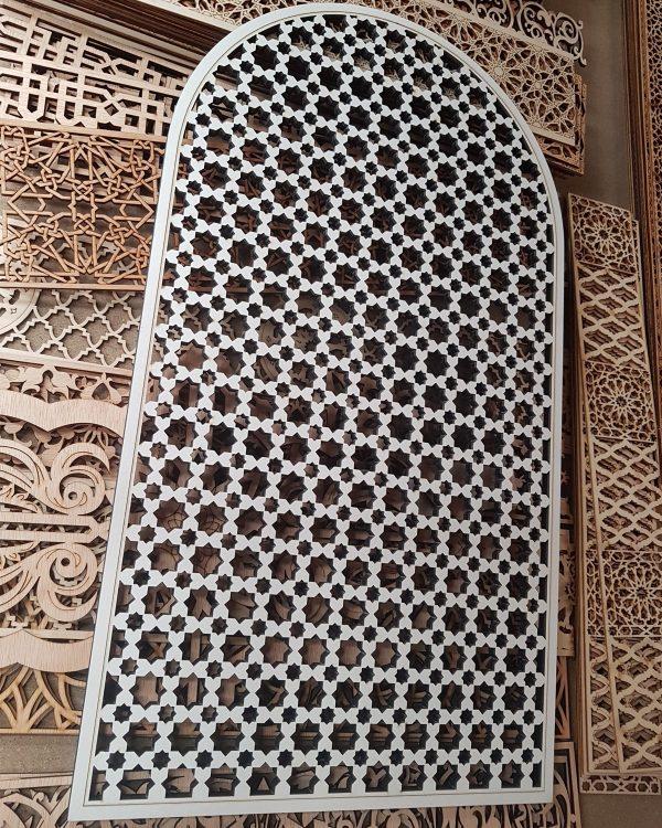 Window - Arabic Lattice - Naabila Abiad Model - White Color - 60 x 34 cm