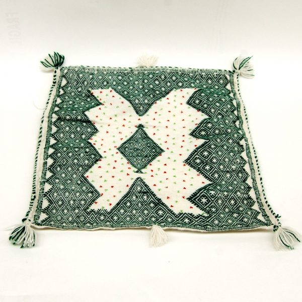 Berber Cushion Cover - Vintage Style - 50cm x 50cm - White and Green