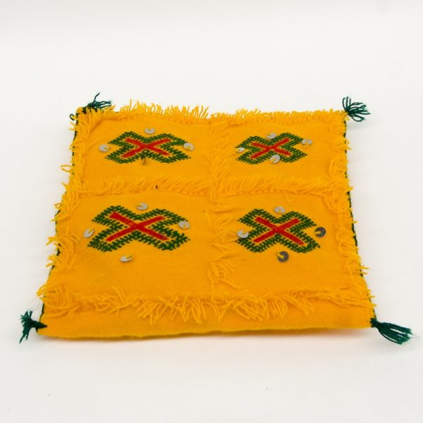Berber Cushion Cover - Vintage Style - 33cm x 33cm - Yellow and Green
