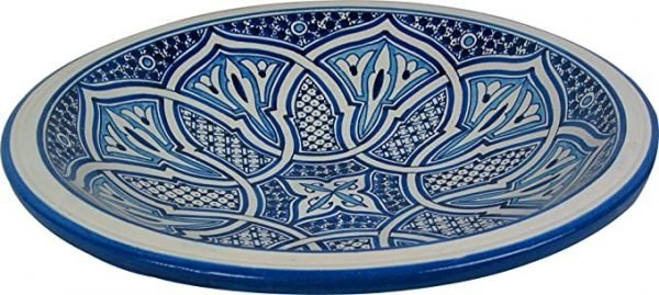 CERAMIC ARABIC PLATE FEZ- BLUE AND WHITE- 40CM - HAND PAINTED