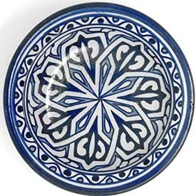 Arabic Deep Plate - Fez Ceramic - 25 cm - Hand Painted - Blue and White