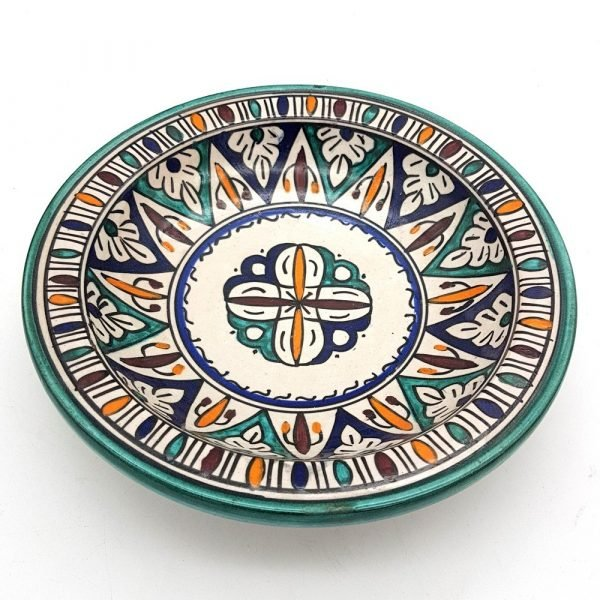 Arabic Deep Plate - Fez Ceramic - 30 cm - Hand Painted - Multicolor