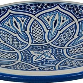 Arabic Ceramic Fez Deep Plate - 20 cm - Hand Painted - Blue and White