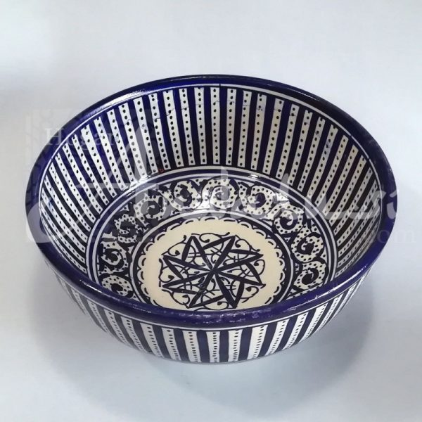 Moroccan Bowl or Bowl - Salad Bowl - Fez Ceramic - Hand Painted - Blue and White - 20 x 9 cm
