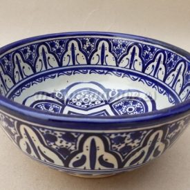 Moroccan Bowl or Bowl - Salad Bowl - Fez Ceramic - Hand Painted - Blue and White - 15 x 7 cm