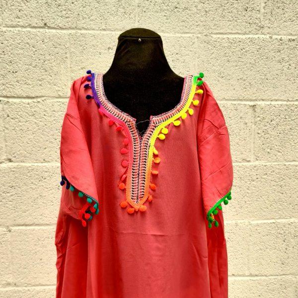 Moroccan Kandora Woman - Djellaba - One Size - Color Pink - Model kuratia
