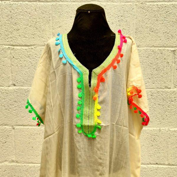 Moroccan Kandora Woman - Djellaba - One Size - White Color - Model kuratia