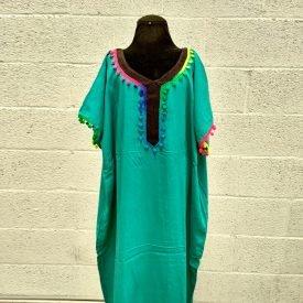 Moroccan Kandora Woman - Djellaba - One Size - Color Emerald Green- Model kuratia