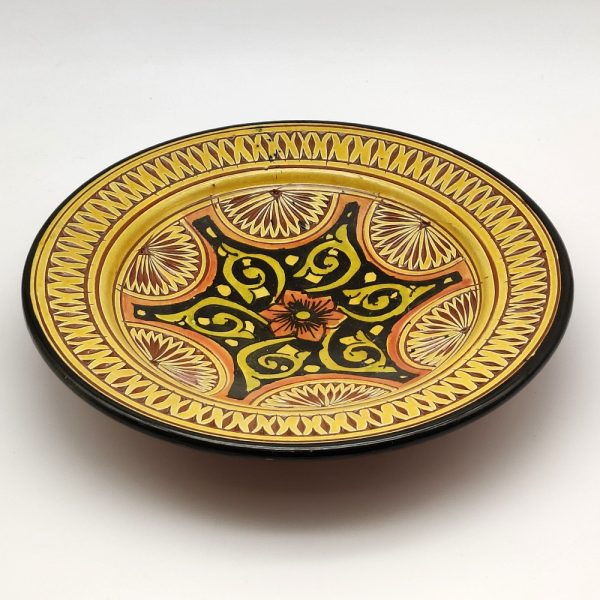 Asfi Carved and Enameled Ceramic Plate - Hand Painted - Yellow - Nahtun Model