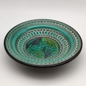 Asfi Carved and Glazed Ceramic Plate - Hand Painted - Emerald Green - Nahtun Model