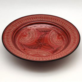Asfi Carved and Enameled Ceramic Plate - Hand Painted - Red - Nahtun Model