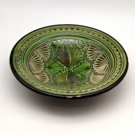 Asfi Carved and Enameled Ceramic Plate - Hand Painted - Green - Nahtun Model