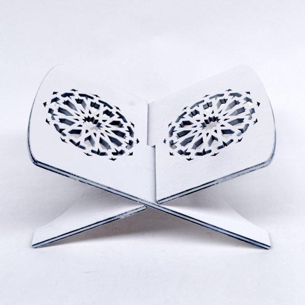 Sacred Book Holder - White Color - Quran Support - 100% Wood - Al-Baida Model