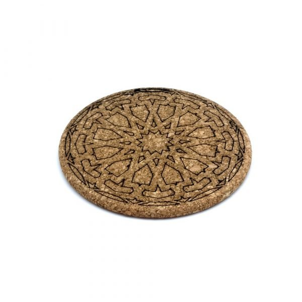 Engraved Cork Placemat with Geometric Design - Arabic Style - Alhambra Design - 18cm