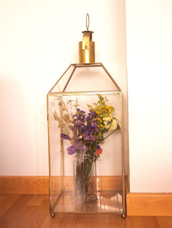 Vintage Glass and Brass Lantern - Munawar Model