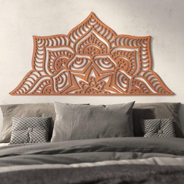 Mandala Bed Headboard 160 cm - Wood - Tibet Model