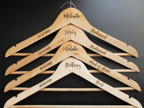 Wooden Hanger Engraved and Personalized with Laser