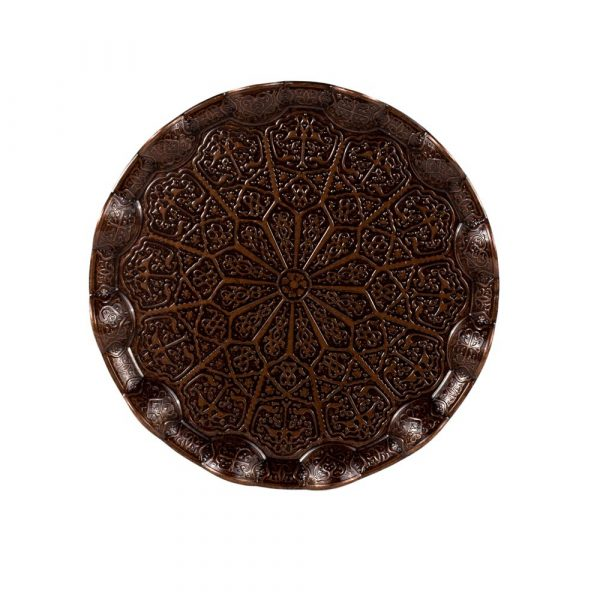 Engraved Tea Tray 25 cm Wavy - DELUXE Quality - Istanbul Model